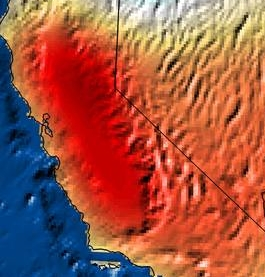 NASA Satellite Image of California drought