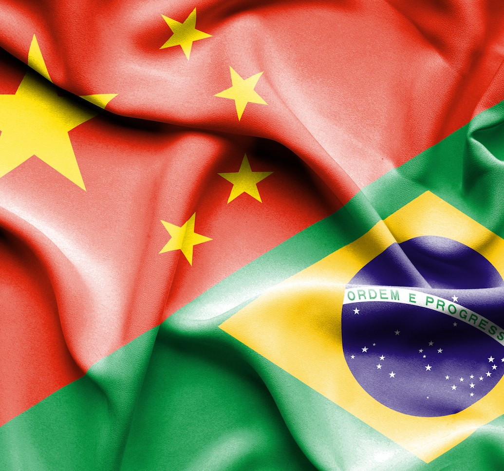 Chinese and Brazilian flags